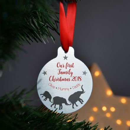 Personalised Metal First Christmas Elephant Bauble